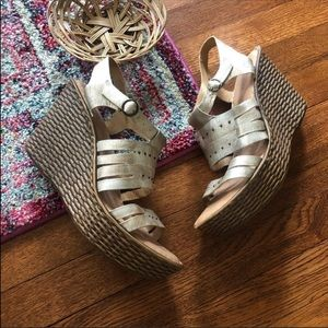 Born gold leather wedge heeled sandals